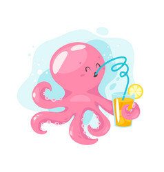 octopus cartoon style vector image