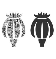 Opium poppy mosaic of binary digits vector