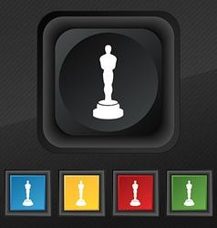 Oscar statuette icon symbol Set of five colorful vector
