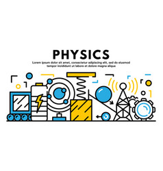 Physics banner outline style vector