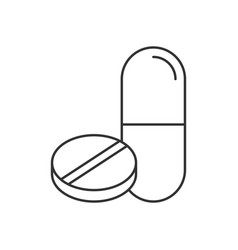 pill and tablet line icon on white background vector image
