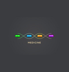 pills in molecule dna science or medical concept vector image