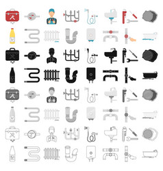 Plumbing set icons in cartoon style big vector
