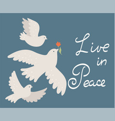 postcard with doves and inscription live vector image