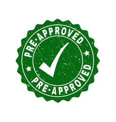 Pre-approved scratched stamp with tick vector