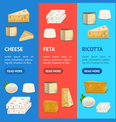 Realistic detailed 3d cheese banner vecrtical set vector