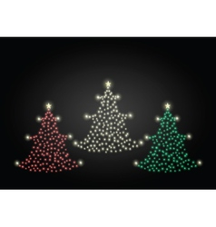Red gold and green christmas trees vector image