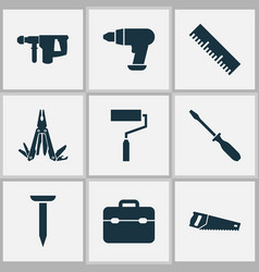 Repair icons set with multifunctional pocket vector