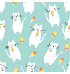 seamless pattern with funny cats eating ice cream vector image