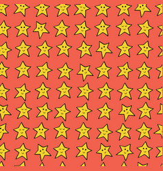 Seamless pattern with yellow cartoon stars vector