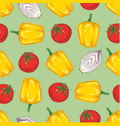 seamless pattern yellow bell pepper onion tomato vector image