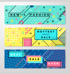 Set - bright abstract memphis style banners vector