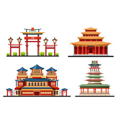 set chinese buildings or asian architecture vector image