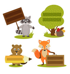 Set isolated forest animal with frame vector