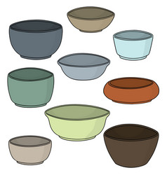 set of bowl vector image