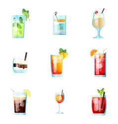 set of nine tropical cocktails mojito tom vector image
