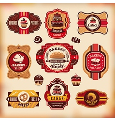 Set of vintage various bakery labels vector image