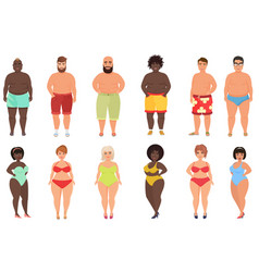 set overweight fat curvy women girls and beach vector image