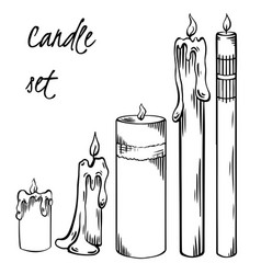 set relax candles black and white sketch vector image