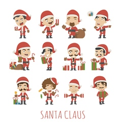 set santa claus costume characters vector image