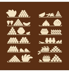 Shelves with fruits for your design vector image