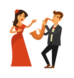singing woman in red dress and man playing vector image