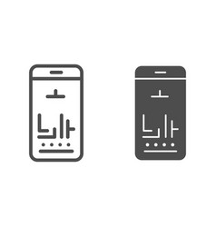 smartphone games line and glyph icon mobile vector image