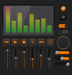 Sound equalizer with slider and media player vector