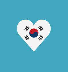 south korea flag icon in a heart shape in flat vector image