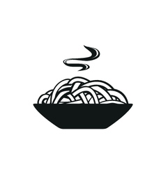 Spaghetti or noodle simple black icon on white vector