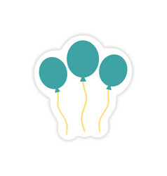 Stylish paper sticker on white background balloons vector