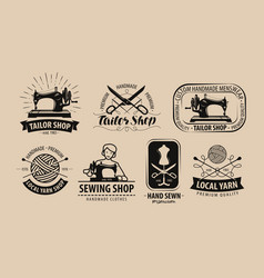 Tailor shop yarn logo or label tailoring concept vector