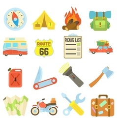 Travel icons set flat style vector image