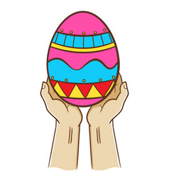 Two hand holding an easter egg vector