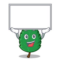 up board mint leaves character cartoon vector image