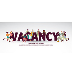 Vacancy team group business people and sign vector