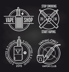 Vape shop logo design on blackboard vector