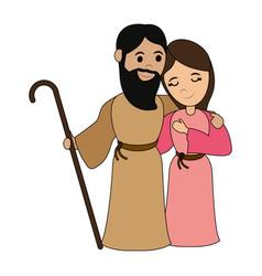 Virgin mary and saint joseph cartoon vector