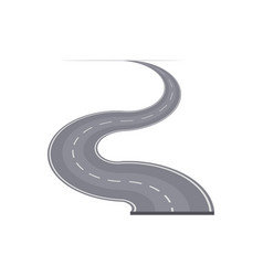 Winding curved highway with markings vector