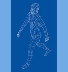 wireframe walking man vector image