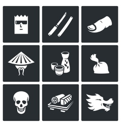 Yakuza Japans organized crime icons set vector image