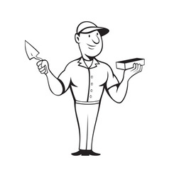 Bricklayer mason standing vector