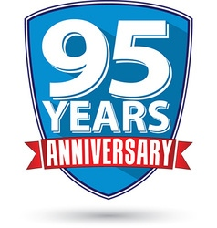 Flat design 95 years anniversary label with red vector image vector image