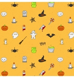 Halloween flat pattern soft color vector image vector image