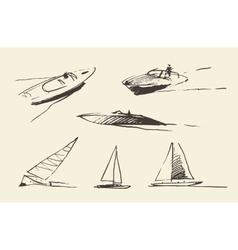Set boats sketches drawn vector image vector image