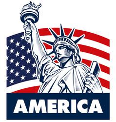 statue of liberty usa flag vector image vector image