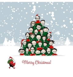 Christmas card funny people tree for your design vector image vector image