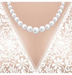 Decolette of white lace bridal dress vector image