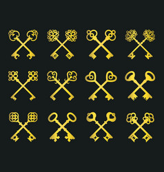 old golden crossed keys set vector image vector image