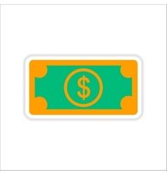 Paper sticker on white background dollar cash vector